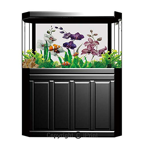 - Fish Tank Background Decor Static Image Backdrop,Watercolor Flower,Different Kind of Orchid Flower on Clear Background Exotic Blossoms Art,White Pink Violet,Underwater Ecosystem Photography Backdrop f