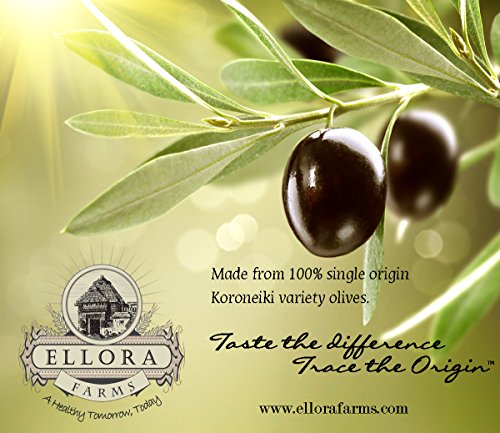 """Ellora Farms, Multiple Global Gold Award Winner, Single Origin & Single Estate Certified PDO Greek Extra Virgin Olive… 6 SINGLE ORIGIN & SINGLE ESTATE - Taste the Difference ! This olive oil is harvested and bottled at source at the Olive Estates of Kolymvari region in the Island of Crete, Greece. The Olive Groves of Kolymvari are located in the middle of the Mediterranean Sea, where the olives go beyond a simple agricultural product to being a key ingredient in the life, culture and cuisine of the region. The fruity aroma in this EVOO is due to the """"Koroneiki olive variety"""" used in this extraordinary olive oil. PROTECTIVE DESIGNATION OF ORIGIN """"PDO""""- Ellora Farms Olive Oil is a certified by the European Union as to the origin and to its quality which meets the stringent requirements, while maintaining a focus on environmental consciousness and tradition. Fresh from the Groves this 100% Pure Greek Extra Virgin Olive Oil is known for its rich fruity aroma and a characteristic peppery flavor. Each bottle and tin is numbered in accordance with a strictly monitored procedure. WORLD'S FIRST FULLY TRACEABLE OLIVE OIL - We believe in the absolute traceability of our products and authenticity of its Origin and lifecycle. Simply submit the five-digit Lot number printed on the bottle label or tin into our Origin Tracer at our website www.ellorafarms.com and easily track this product """"from the olive grove to the shelf"""". Trace the Origin and Taste the difference of single origin, single region, single estate and ethically produced olive oil."""
