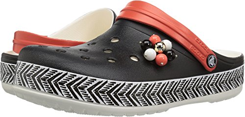 Crocs Women's Drew Barrymore Crocband Chevron Clog, Black/White, 6 US Men/ 8 US Women M US by Crocs