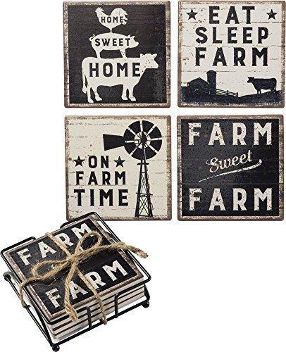 (Primitives by Kathy 39412 Absorbent Stone Coasters, Set of 4, Sweet Farm )