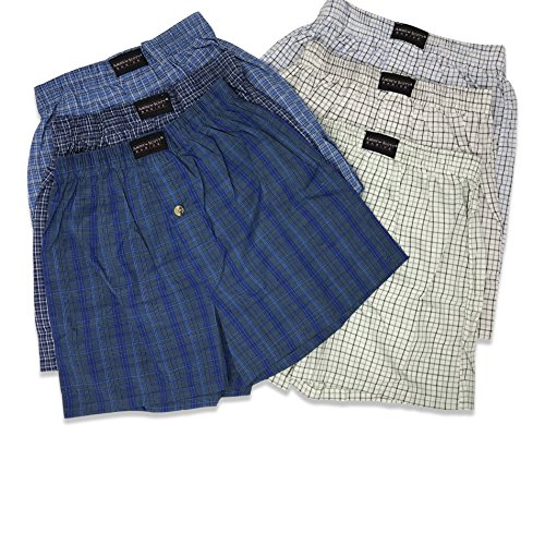 Boys Tartan Plaid Boxer - Andrew Scott Boys' 6 Pack Woven Plaid Tartan Boxer - Assorted Plaid Colors (6 Pack - Assorted Plaids, Small)
