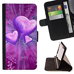 For LG G2 D800 Case , El amor del Corazón Púrpura- la tarjeta de Crédito Slots PU Funda de cuero Monedero caso cubierta de piel