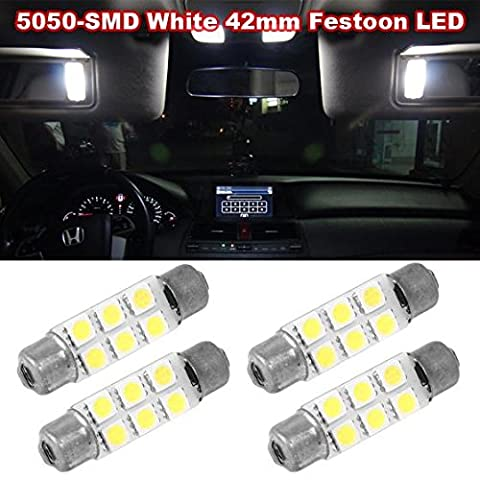Partsam 4pcs White 6-5050-SMD LED Bulbs 44mm Festoon Cap Lamps Car Interior Dome Map Reading Lights for Chevrolet Dodge Ford GMC etc. - (561 562 564 570 571 577 578 211-2 212-2 214-2 (Dodge Caravan Door Accessories)