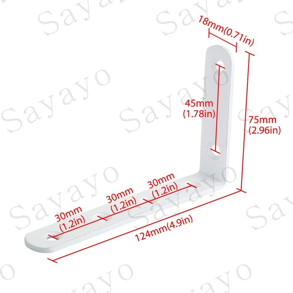Acero inoxidable acabado blanco brillante Sayayo Soporte de repisa Soporte de esquina Soporte de /ángulo Soporte de repisa Colgante de pared 125 mm * 75 mm 4piezas EJ5207W-4P