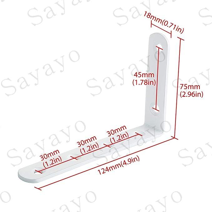 Acero inoxidable acabado blanco brillante EJ5207W-4P 4piezas Sayayo Soporte de repisa Soporte de esquina Soporte de /ángulo Soporte de repisa Colgante de pared 125 mm * 75 mm