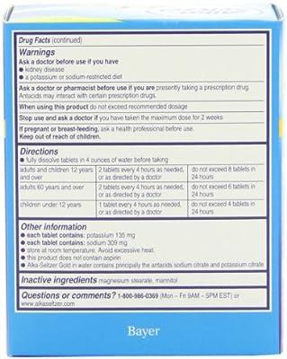 Alka-Seltzer Gold Tablets- Non-Aspirin, 36 Count Box