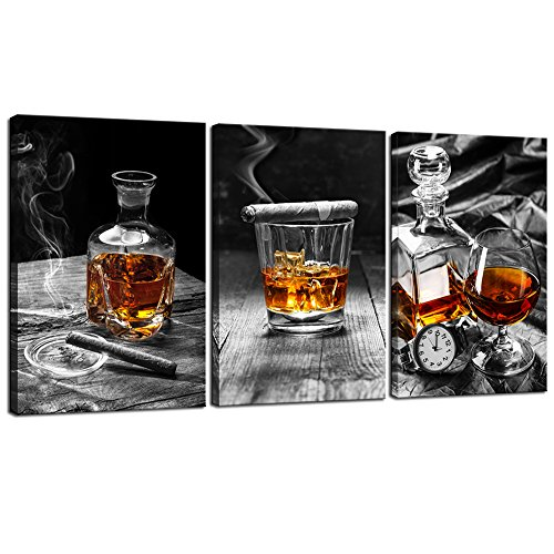 (sechars - Large 3 Piece Canvas Prints Wall Art Cigar Whisky Pictures Canvas Art Liquor Still Life Painting Giclee Print on Canvas Framed Modern Kitchen Pub Western Wall Decor - 72