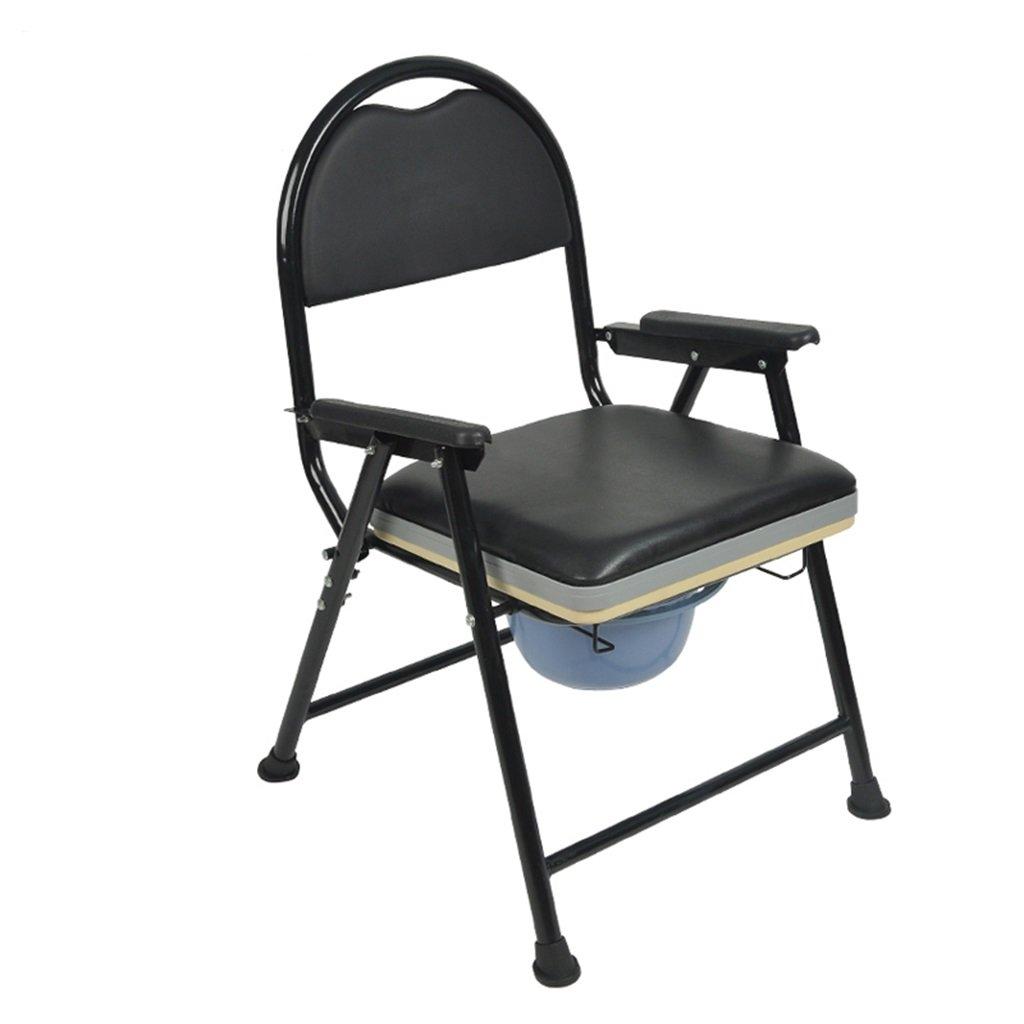 黒い滑り止め手すり頑丈で丈夫な浴室シャワースツールバケツ妊婦のトイレシートポータブル折り畳み式高齢者人椅子のパッド付き携帯電話の障害付きトイレ椅子最大80kg B07DKX93L1