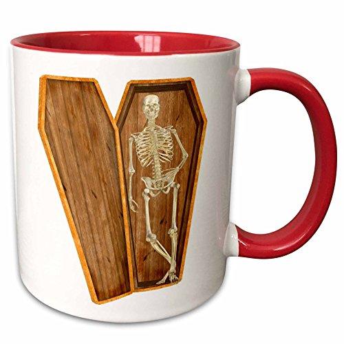 3dRose Blonde Designs Happy and Haunted Halloween - Halloween Casket Skeleton - 15oz Two-Tone Red Mug (mug_131046_10)]()
