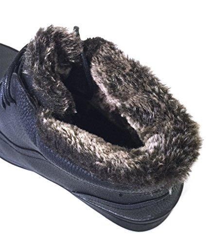 G4u-brixton Gmm-b3s Heren Winterlaarzen Koud Weer Veterbont Voering Enkel Warme Sneeuw Comfort Schoenen, Zwart Zwart-1