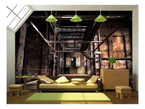 (wall26 - Old Abandoned Industrial Interior - Removable Wall Mural | Self-Adhesive Large Wallpaper - 100x144 inches)