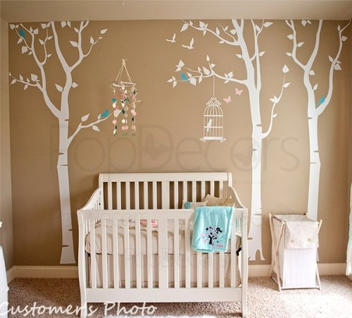 Three birch trees and birdcage - White, Light pink and Ice Blue - Beautiful Tree Wall Decals for Kids Rooms Teen Girls Boys Wallpaper Murals Sticker Wall Stickers Nursery Decor Decals PT-0054-FBA