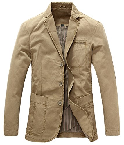 (chouyatou Men's Casual Three-Button Stripe Lined Cotton Twill Suit Jacket (Large, Khaki))