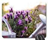 Mouse Pad - Garden Watering Can Lavender Plant Pot Gardening