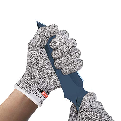 BINGCOO Cut Resistant Gloves Kitchen Cutting Gloves - High Performance Level 5 Protection Food Grade Safety Cutting Gloves for Butchering Meat Cutting Mandolin Slicing Fish Fillet(M)