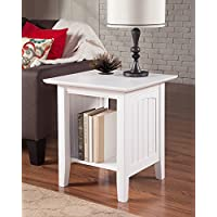 Atlantic Furniture AH14302 Nantucket End Table Rubberwood, White