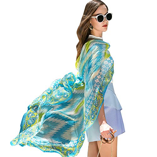 (DANA XU Pure Silk Large Size Pashmina Shawls and Wraps Scarfs for Women (Blue11))