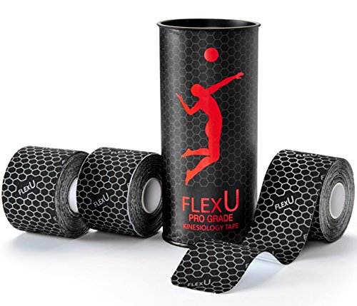 Flexu   3 Roll Bulk Pack  Black Kinesiology Tape  Advanced Strength   Flexibility Properties  Longer Lasting  Pro Grade Therapeutic  Recovery  Sports Tape With A Free Ebook Download