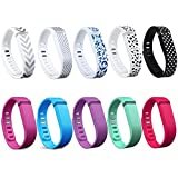 I-SMILE 10PCS Replacement Bands with Metal Clasps for Fitbit Flex / Wireless Activity Bracelet Sport Wristband(No tracker, Replacement Bands Only)