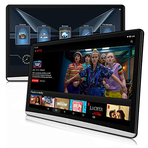 DDAUTO 12.5 inch Dual Android 8.1 Headrest Video Players with WiFi, Syn Screen Tablets Phone Mirror Car Back Seat TV Monitors, IPS Touch Screen 4K, Play Netflix Movies YouTube PS4 Firestick-DD125N