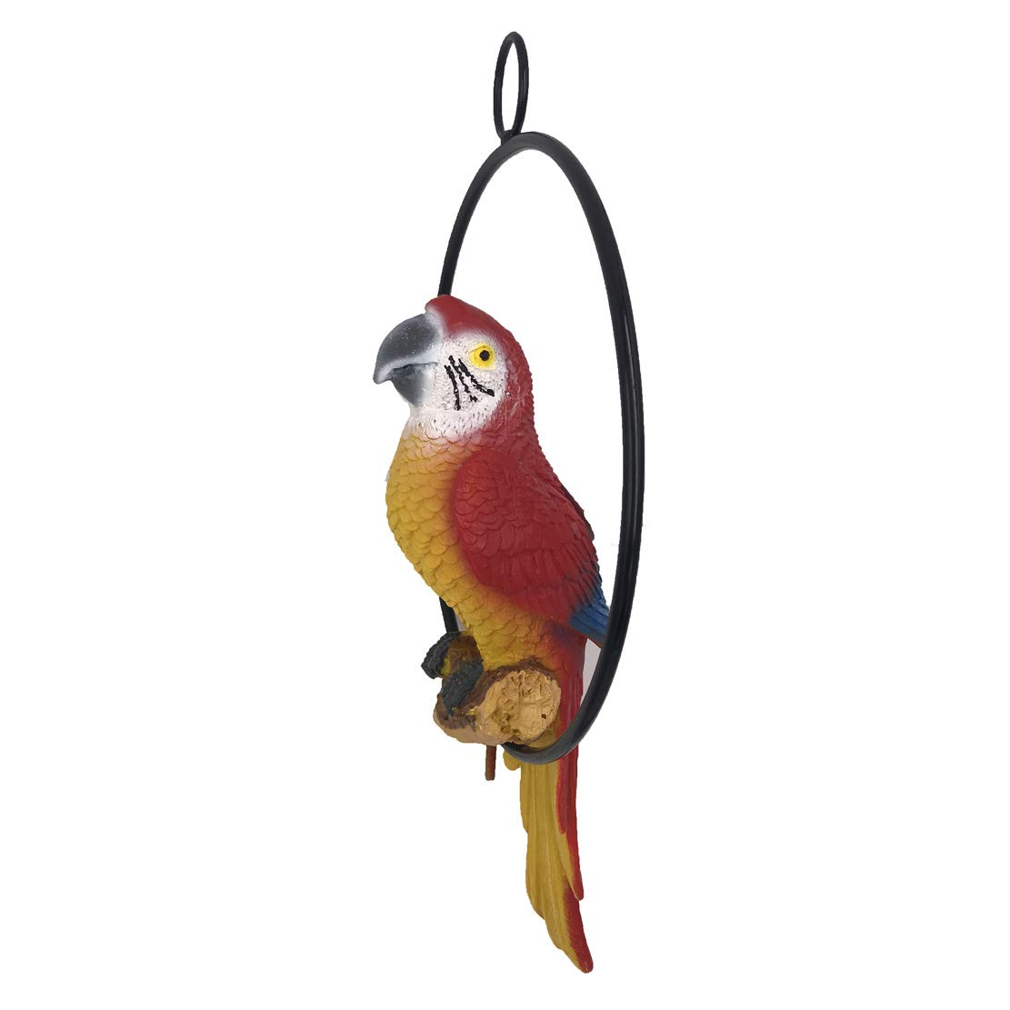 Hanging Parrot Statue On Metal Round Ring Decor for Patio Garden Lawn and Nature Lovers