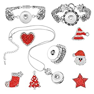 Souarts Christmas Snap Button Jewelry Set Bracelets Necklace with Stocking Tree Stars Heart Charms