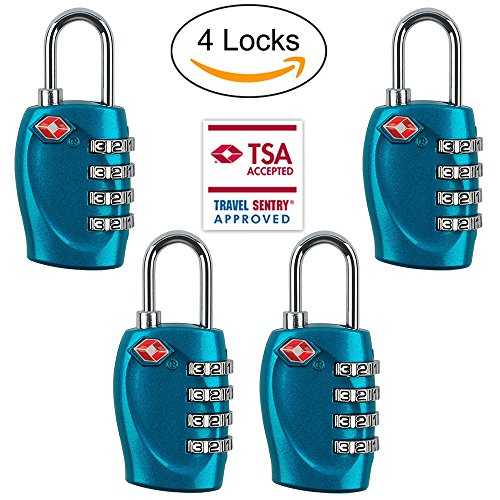 4 Dial Digit TSA Approved Travel Luggage Locks Combination for Suitcases (Blue-4pack) (Instructions Lock Tsa)