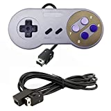 Jadebones Wired Controller Joypad Gamepads for Nintendo Super NES SNES Classic Mini Edition 2017 with a 6ft Extension Cable (Purple Button Style)