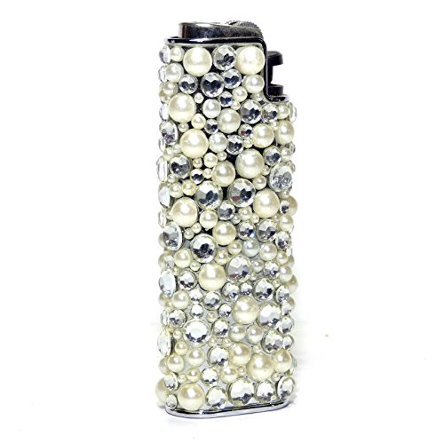 Elegant Bling Simulated Pearls Lighter Holder - 3 Inch
