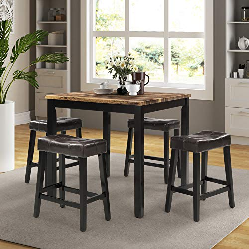 WMM Kitchen Table Set, Indoor Modern Furniture 5 Pieces Marble Top Counter Height Dining Table Set with 4 Leather Chairs-Upholstered Chairs, Dining Room Set (Brown)