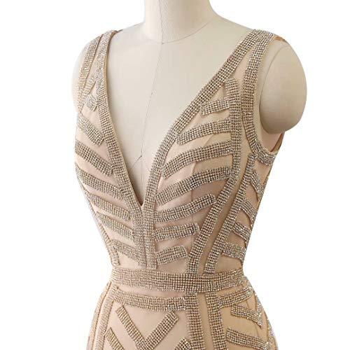 Prom Abendkleider Formale King's Maxi Love Strass Lange Kleider Frauen Champagner1 Ausschnitt Mermaid V wvfwHq