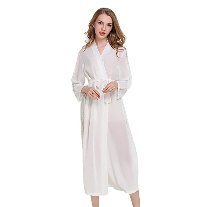 Señoras Gasa Largas Kimono Batas Manga Larga Fácil Albornoz Clásico Encaje Borde Noche Cálido Shea Nighty