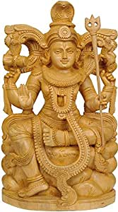 Lord Shiva Seated on Mount Kailash - White Cedar Wood from Trivandrum (Kerala)