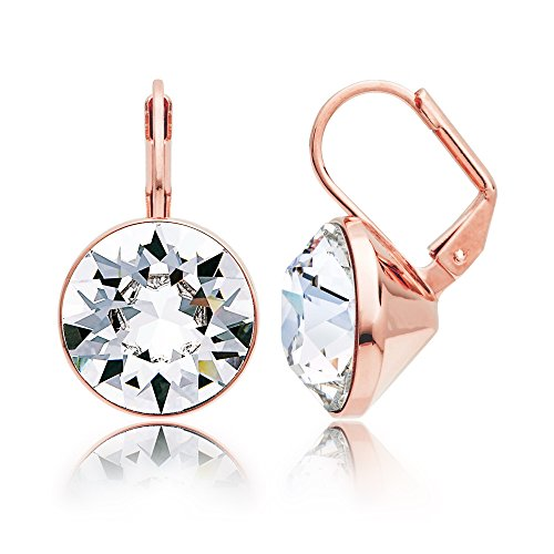 MYJS Bella Statement Earrings Clear Swarovski Crystal Rose Gold Plated