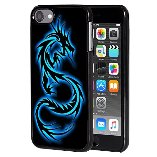 (iPod Touch 6 case,AIRWEE Slim Back Cover Hard Plastic Protector Case Stylish Design for Apple iPod Touch 6th Generation - Blue Dragon)