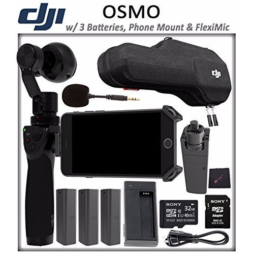DJI OSMO Starter Bundle: DJI Osmo Handheld 4K Camera and 3-Axis Gimbal + 3 DJI Osmo Intelligent Batteries + DJI Osmo Phone Holder + DJI FlexiMic + SONY 32GB microSD Memory Card by ElectronicsBasket