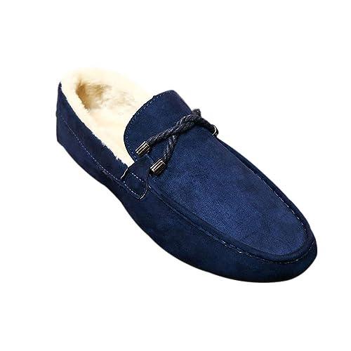 Fuyingda Hombres Mocasines de Ante de Invierno Mocasines Planos con Suela de Goma Zapatos Bajos Zapatos de Piel: Amazon.es: Zapatos y complementos