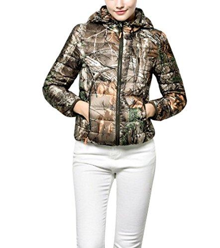 Caldo Giù Con Casuale Delle Super Tasca Leggero 1 Giacca Zip Inverno Collare Bicchierini Cappuccio Camouflage m Cotone Sottili Con Donne Nevoso r0wqrU5