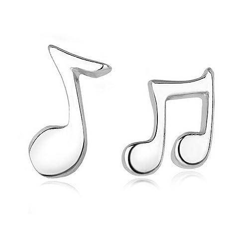 Hosaire Pendientes de Plata de Símbolo Musical Pendientes de Botón Nuevo Estilo para Mujeres de la