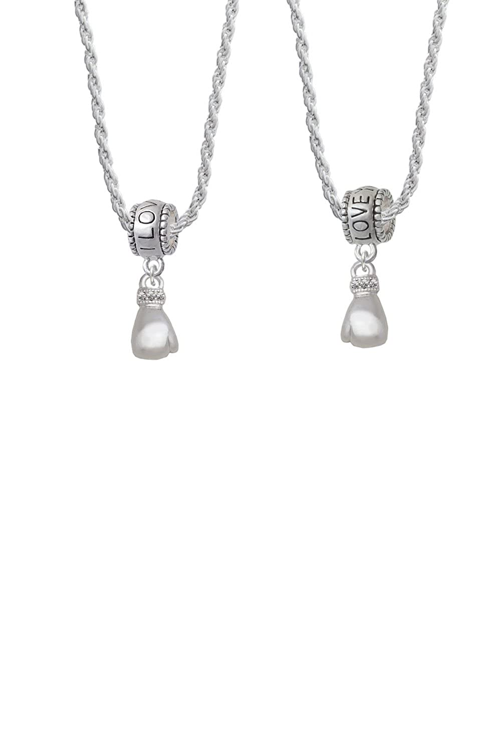 Cheer Bunny Small Boxing Glove I Love You More Bead Necklace Set of 2