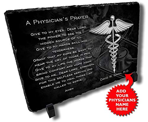 Redeye Laserworks Physicians Prayer Personalized Decorative Stone Plaque.