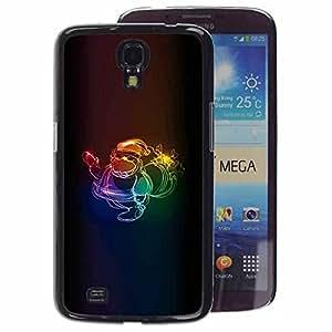 A-type Arte & diseño plástico duro Fundas Cover Cubre Hard Case Cover para Samsung Galaxy Mega 6.3 (Xmas Neon Colors Santa Claus Christmas)