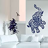 Vinyl Decal Elephant Mandala Wall Meditation Eastern Art Sticker Zen Interior Bohemian Bedding Bedroom Nursery Living Room Yoga Studio Room Home Décor Murals S17