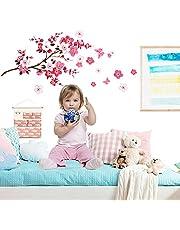 Bloemen muurstickers vlinders kinderkamer muurstickers, kinderkamer meisjes woonkamer slaapkamer romantische wanddecoratie (1PCS 90 x 30 cm)