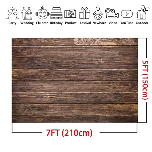 LYWYGG 7x5ft Thin Vinyl Brown Wood Backdrop Photographers Retro Wood Wall Background Cloth Seamless CP-19 by LYWYGG (Image #6)