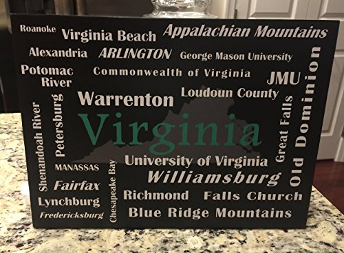 Virginia State Wood Sign with City (Roanoke Wall Plaque)
