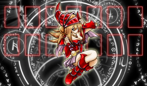 Yugioh Red Dark Magician Girl on Spell/Rune Circles Custom Playmat / Gamemat ...