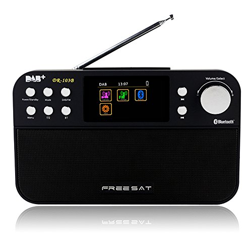 Docooler DR-103B Portable Digital DAB+ DAB FM Radio DAB RDS Wavebands Receiver BT 4.0 Speaker Stereo Receptor with 2.4 Inch TFT Color Display 2200mAh Rechargeable Battery