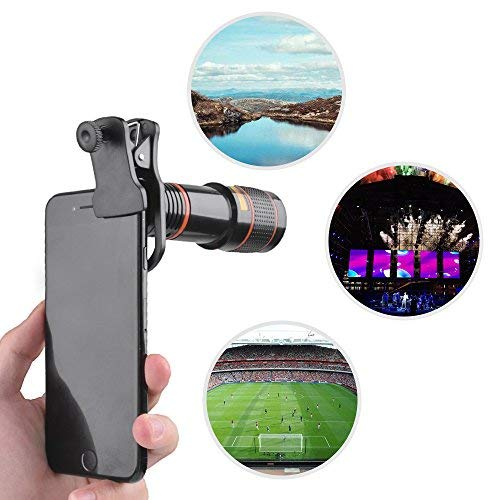 Phone Telephoto Lens Kit 12X, JolyJoy Mobile Camera Monocular Telescope With UPGRADED Premium Clamp, Mount For iPhone/Samsung & Other Smart Phones, Add Fun To Photography Landscape Birding View