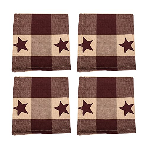 Burgundy and Tan Star Checker Plaid 18 x 18 All Cotton Napkin Pack of 4